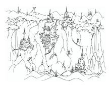 Spooky castles on cliffs with monkeys - coloring page bluebison.net