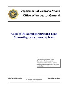 Department of Veterans Affairs Office of Inspector General Audit of  the Administrative and Loan Accounting