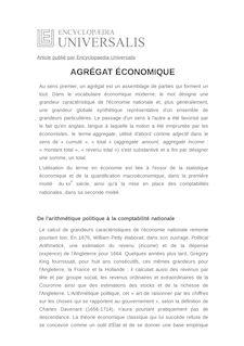 Définition de : AGRÉGAT ÉCONOMIQUE - Marc PÉNIN