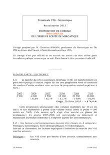 Bac 2012 STG Mercatique Corrige