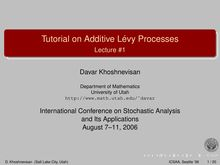 Tutorial on Additive Lévy Processes - Lecture #1
