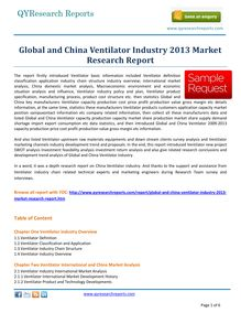 Market Study on Global and China Ventilator Market 2013 by qyresearchreports.com