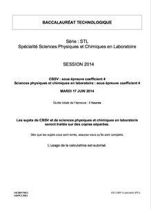 Sujet bac 2014 - Série STL - Chimie-biochimie-sciences du vivant (sous-épreuve)