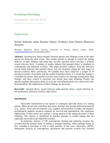 Sexual selection under parental choice: Evidence from sixteen historical societies