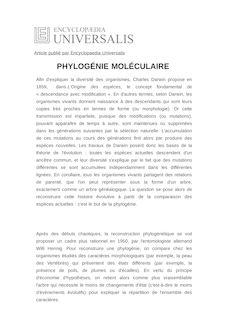 Définition de : PHYLOGÉNIE MOLÉCULAIRE - Philippe LOPEZ