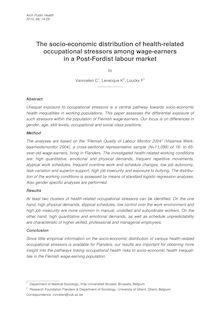 The socio-economic distribution of health-related occupational stressors among wage-earners in a Post-Fordist labour market