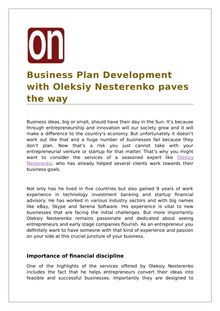 Business Plan Development with Oleksiy Nesterenko Paves The way