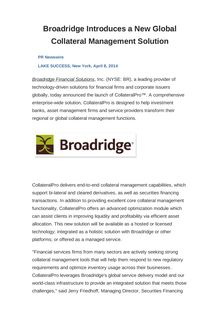 Broadridge Introduces a New Global Collateral Management Solution