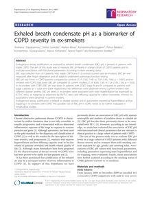 Exhaled breath condensate pH as a biomarker of COPD severity in ex-smokers