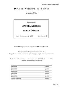 Sujet de mathématiques du brevet 2014