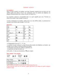 Cours de chinois : application des nombres
