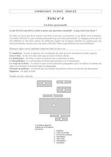 La lettre personnelle - Apprendre à écrire en français