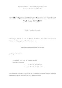 NMR investigations on structure, dynamics and function of VAT-N and DOTATOC [Elektronische Ressource] / Mandar Vinayakrao Deshmukh