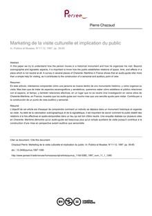 Marketing de la visite culturelle et implication du public - article ; n°1 ; vol.11, pg 39-65