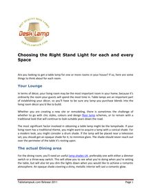 Choosing the Right Stand Light for each and every Space