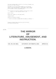 The Mirror of Literature, Amusement, and Instruction - Volume 20, No. 569, October 6, 1832