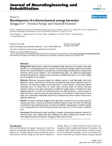 Development of a biomechanical energy harvester