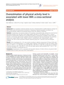 Overestimation of physical activity level is associated with lower BMI: a cross-sectional analysis