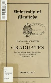 Names and addresses of graduates in Arts, Science, Law, Engineering, Agriculture, Medicine, Pharmacy, etc