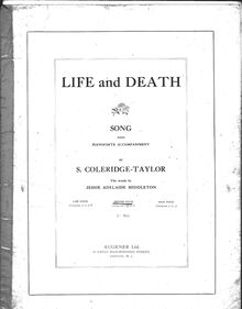 Partition Medium voix (en B-flat), Life et Death, Coleridge-Taylor, Samuel