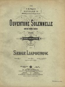 Partition couverture couleur, Triumphal Overture on russe Themes, Op.7