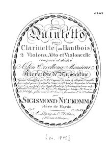 Partition hautbois (instead of clarinette), quintette, Op.8, Quintet for Clarinet (or Oboe) 2 Violins, Viola, and Cello, Op.8