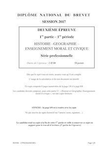 Brevet 2017 le sujet d'Histoire Géographie et EMC (série Pro)