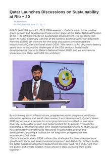 Qatar Launches Discussions on Sustainability at Rio + 20