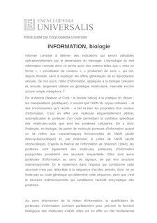 Définition de : INFORMATION, biologie - Henri ATLAN