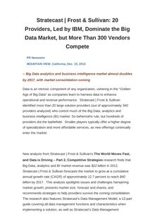 Stratecast | Frost & Sullivan: 20 Providers, Led by IBM, Dominate the Big Data Market, but More Than 300 Vendors Compete
