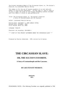 The Circassian Slave, or, the Sultan