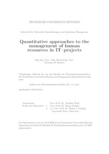 Quantitative approaches to the management of human resources in IT-projects [Elektronische Ressource] / Christian M. Heimerl