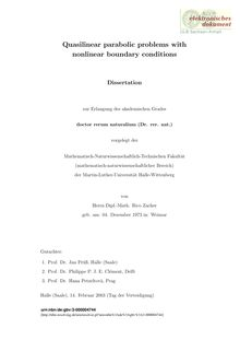 Quasilinear parabolic problems with nonlinear boundary conditions [Elektronische Ressource] / von Rico Zacher
