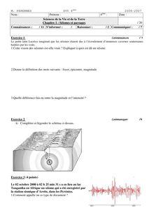 Contrôle + correction de SVT 4e - Les séismes et paysage