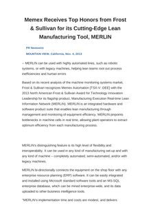 Memex Receives Top Honors from Frost & Sullivan for its Cutting-Edge Lean Manufacturing Tool, MERLIN