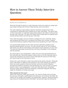 How to Answer These Tricky Interview Questions