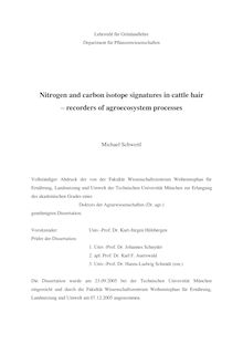 Nitrogen and carbon isotope signatures in cattle hair [Elektronische Ressource] : recorders of agroecosystem processes / Michael Schwertl