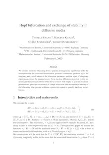 Hopf bifurcation and exchange of stability in diffusive media