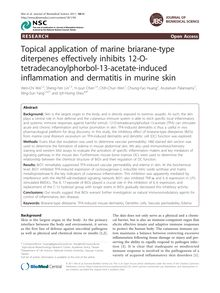 Topical application of marine briarane-type diterpenes effectively inhibits 12-O-tetradecanoylphorbol-13-acetate-induced inflammation and dermatitis in murine skin