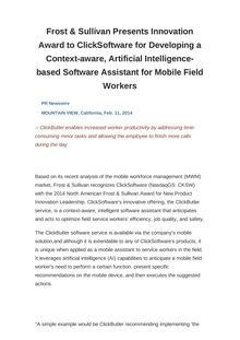 Frost & Sullivan Presents Innovation Award to ClickSoftware for Developing a Context-aware, Artificial Intelligence-based Software Assistant for Mobile Field Workers
