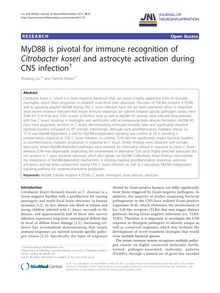 MyD88 is pivotal for immune recognition of Citrobacter koseriand astrocyte activation during CNS infection†