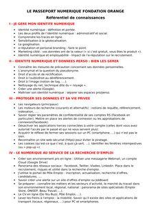 Passeport Numérique - Référentiel de compétences