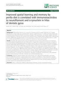 Improved spatial learning and memory by perilla diet is correlated with immunoreactivities to neurofilament and α-synuclein in hilus of dentate gyrus