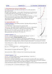 Cours de terminale S sur les exponentielle