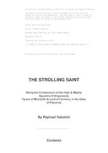 The Strolling Saint; being the confessions of the high and mighty Agostino D