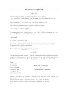 Exercices sur le conditionnel présent - français 5ème