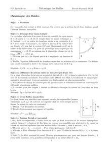 Exercices de mécanique des fluides - 2ème année de CPGE scientifique, voie PC*, Dynamique des ...