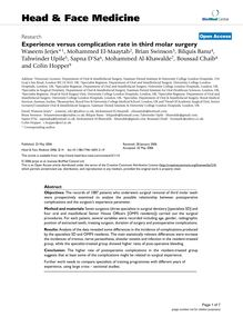 Experience versus complication rate in third molar surgery