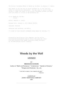 Weeds by the Wall - Verses