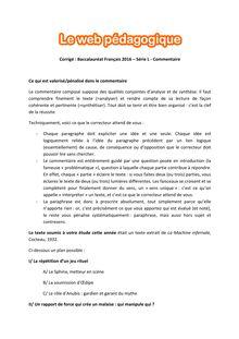 Baccalauréat Français 2016 - Série L - Commentaire